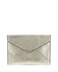 Rebecca Minkoff Leo Metallic Leather Clutch Bag Champagne