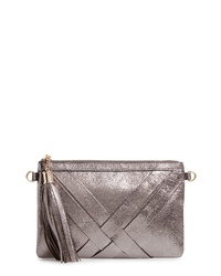 MALIBU SKYE Metallic Woven Faux Leather Shoulder Bag