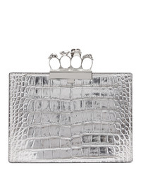 Alexander McQueen Silver Croc Small Four Ring Clutch
