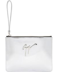 Giuseppe Zanotti Silver Leather Pouch