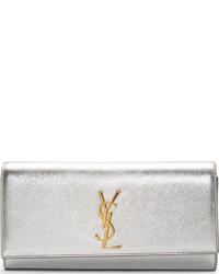 Saint Laurent Silver Metallic Leather Monogramme Clutch