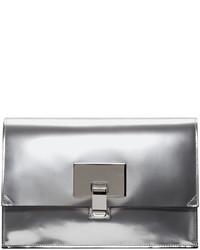 Proenza Schouler Silver Mirrored Small Lunch Bag Clutch