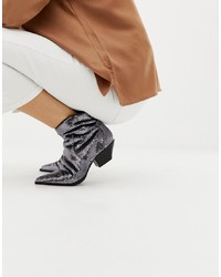 ASOS DESIGN Annie Silver Sequin Western Boots Sequin
