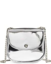 Metallic Faux Leather Crossbody Bag Metallic
