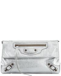 Balenciaga Classic Arena Envelope Crossbody Bag Silver