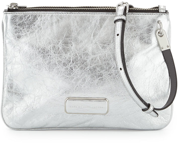 Leather Crossbody Bags Marc By Jacobs Ligero Novelty Double Percy Bag Silver
