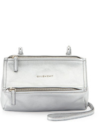 Givenchy Pandora Mini Leather Crossbody Bag Silver