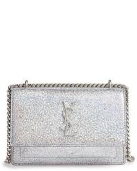 Saint Laurent Mini Sunset Crackle Metallic Leather Crossbody Bag Metallic