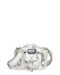 Moschino Small Biker Jacket Pierced Metallic Leather Crossbody Bag