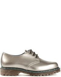 Silver Leather Derby Shoes