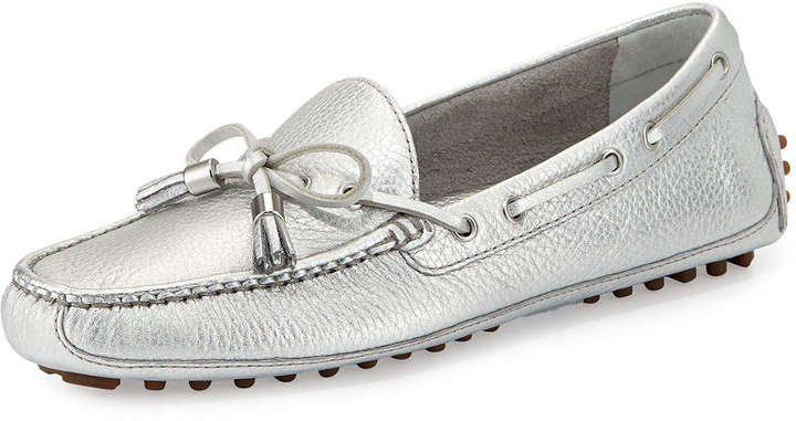 bd08ec09f40 ... Silver Leather Driving Shoes Cole Haan Grant Metallic Leather Driver  Argento ...