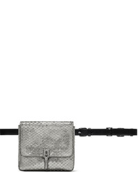 Elizabeth and James Cynnie Snake Embossed Belt Bag Anthracite