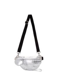 MM6 MAISON MARGIELA Silver Faux Patent Two Compartt Bum Bag