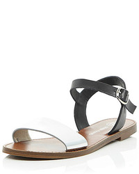 River Island Black Silver Leather Flat Sandals