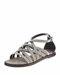 Brunello Cucinelli Monili Multi Strap Flat Sandal Silver