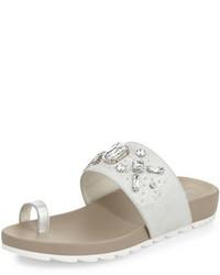 Donald J Pliner Tulia Jeweled Flat Slide Sandal Silver