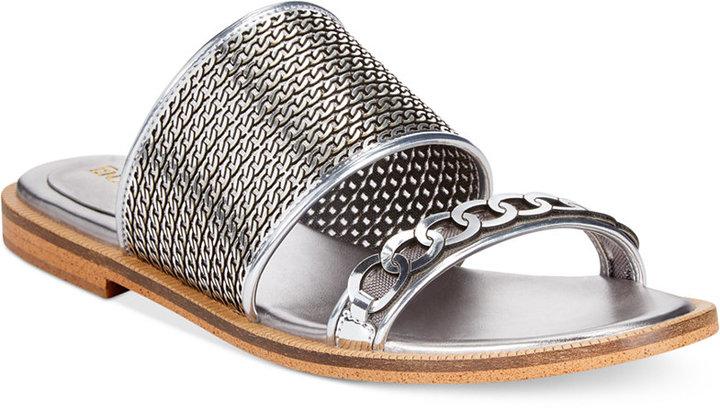 ... Silver Leather Flat Sandals Enzo Angiolini Jioni Flat Slide Sandals ... fed5e8f80eca