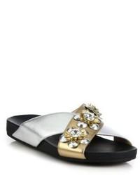 Fendi Flowerland Metallic Leather Crystal Crisscross Slides