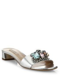 Casadei Jeweled Metallic Leather Slides