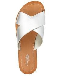 8e0649133d3 ... Charlotte Russe Metallic Crisscross Slide Sandals