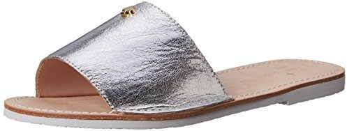 43665c57a8c1 New York Imperiale Sandal. Silver Leather Flat Sandals by Kate Spade