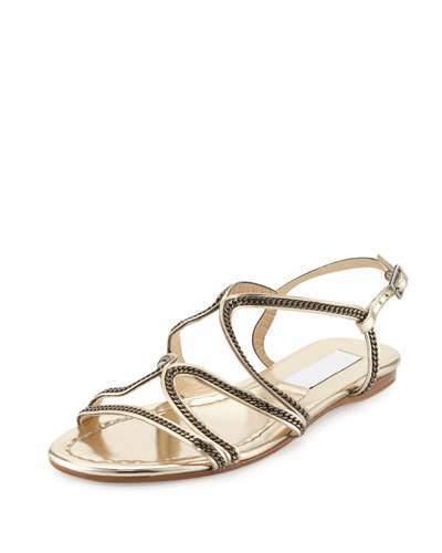 16d417f6e7dde $575, Jimmy Choo Nickel Chain Strappy Flat Sandal