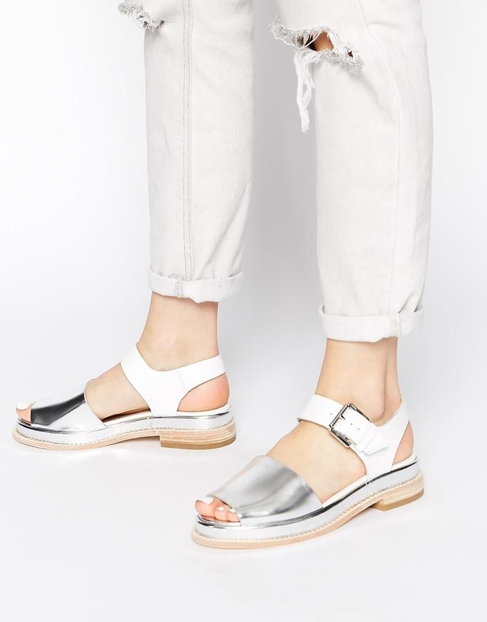 3e4b42c316d ... Clarks Originals Madlen White Silver Flat Sandals ...