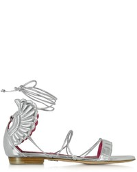 Oscar Tiye Malikah Silver Leather Flat Sandal