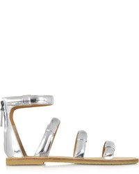 Marc by Marc Jacobs Seditionary Laminated Silver Leather Flat Sandal