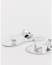 Glamorous Silver Mirror Two Flat Sandal