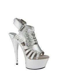 Highest Heel Gladiator Silver Metallic