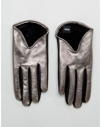Short silver metallic leather gloves medium 6860886