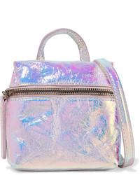 Kara Satchel Micro Holographic Crinkled Leather Shoulder Bag Silver