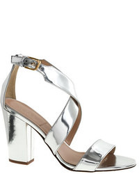 Silver Leather Heeled Sandals