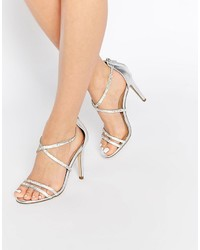 Aldo Arenani Silver Cross Front Heeled Sandals