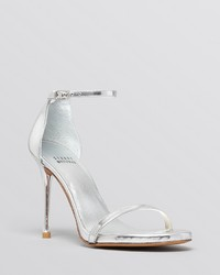 Stuart Weitzman Ankle Strap Sandals Nudist High Heel Metallic Patent