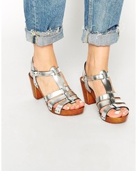 Asos Collection Haberdasher Leather 70s Heeled Sandals