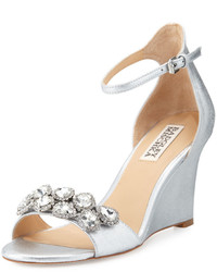 Badgley Mischka Clear Crystal Leather Dressy Sandal Silver