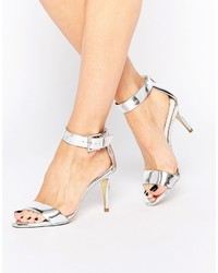 Ted Baker Blynne Silver Two Part Heeled Sandals