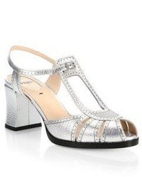 Fendi Chameleon Metallic Leather Block Heel Sandals