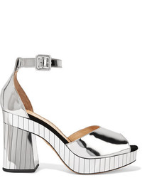 Charlotte Olympia Elie Mirrored Leather Platform Sandals Silver