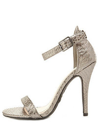 Charlotte Russe Anne Michelle Metallic Python Single Strap Heels