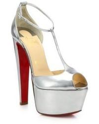 Christian Louboutin Nencheritza Metallic Leather T Strap Sandals