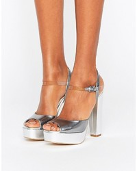 Terry De Havilland Coco Silver Leather Platform Heeled Sandals