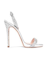 Giuseppe Zanotti Coline Glittered Metallic Leather Slingback Sandals