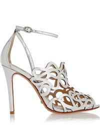 Schutz Darleneh Laser Cut Mirrored Leather Sandals
