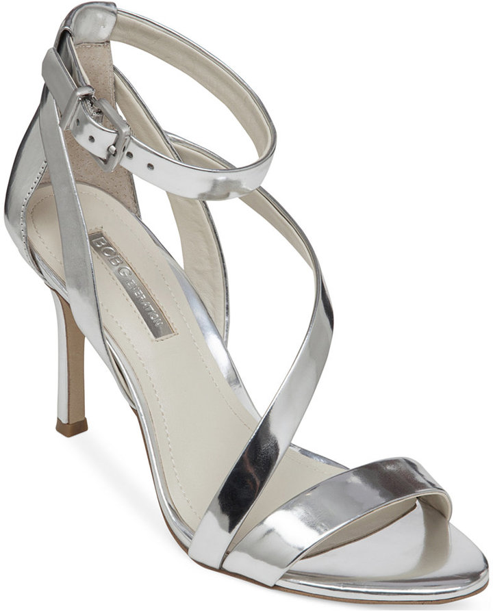 45ba62cbd079 ... Silver Leather Heeled Sandals BCBGeneration Diego Mid Heel Strappy  Sandals ...