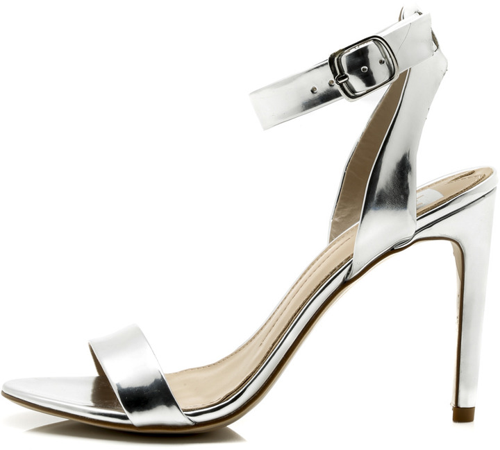 Silver Leather Heels  Tsaa Heel