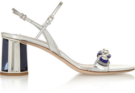 6bf786b1c97 $995, Miu Miu Embellished Metallic Leather Sandals
