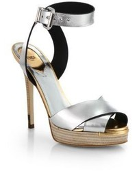 Fendi Claire Crisscross Metallic Leather Platform Sandals